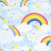Emelia's Dream - Rainbows Light Blue Yardage
