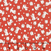 Storybook Sleepytime - Teddybear Balloons Red Yardage