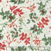Let It Sparkle - Holly Berry Radiant Silver Sage with Red Glitter Yardage