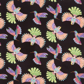 Rainbow Flight - Birds Allover Black Yardage