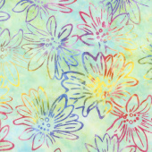 Artisan Batiks - Bright Blooms Flowers Mint Yardage