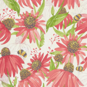 Painted Meadow - Coneflower Cream Yardage