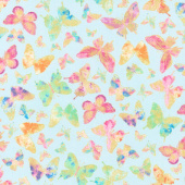 Watercolor Wishes - Butterfly Wishes Light Blue Metallic Yardage