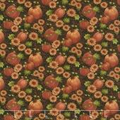 Pumpkin Patch - Pumpkin & Sunflowers Black/Multi Yardage