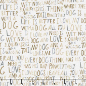Whiskers & Tails - Dogs Words Natural Yardage