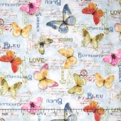 Rainbow Seeds - Butterflies Blue Yardage