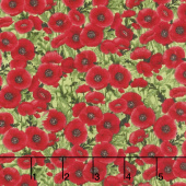 Tuscan Poppies - Mini Poppies Green Yardage