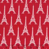 Love from Paris - Eiffel Tower Red Yardage