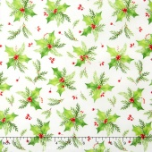 Songbird Christmas - Holly White Yardage