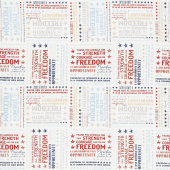 John Wayne Americana - Word Print White Yardage