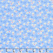 Nana Mae IV - Multicolored Daisy Blue Yardage