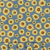 Sunshine Garden - Garden Sunflowers Medium Blue Yardage