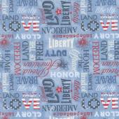 American Valor - Words Allover Blue Yardage