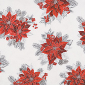 Holiday Flourish 13 - Silver Poinsettia Bouquet Metallic Yardage
