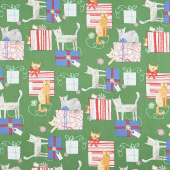 Make Merry - Gift Wrapped Cats Green Yardage