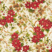 Poinsettias and Pine Metallic - Cream Yardage