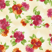 Paradise - Spaced Floral Cream Yardage