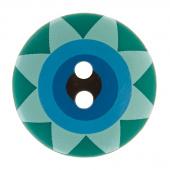 """Kaffe Fassett Button - 3/4"""" Green Multi Star Flower"""