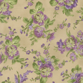 Aubergine - Floral Bouquets Antique Yardage