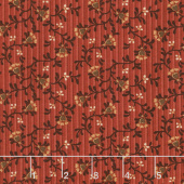 Berries and Blossoms - Heart Flower Red Yardage