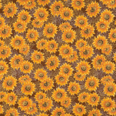 Autumn Beauties - Sunflowers Brown Metallic Yardage