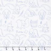 Dumbo - Outline Dark Blue Yardage