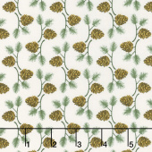 Winter Village - Pine Cone White Paper Yardage