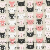 Meow - Meow Faces Gray Yardage
