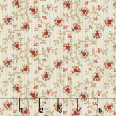 Berries and Blossoms - Heart Flower Cream Yardage