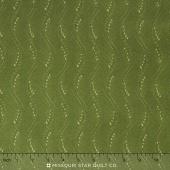 Fresh Lilacs - Green Wavy Stripe Yardage