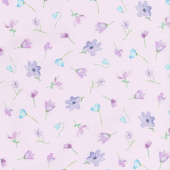 Dreaming of Tuscany - Watercolor Flowers Mauve Yardage