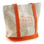 MSQC Measure Twice Cut Once Canvas Tote with Orange Handles