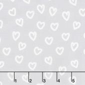 Penned Pals - Aqua Colorstory Hearts Grey Yardage
