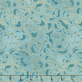 Grand Illusion - Scroll Teal Metallic Yardage