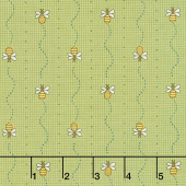 All About the Bees - Bee Mini Stripe Green Yardage