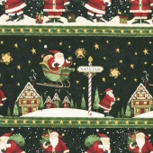 Santa's Big Night - Repeating Stripe Multi Yardage