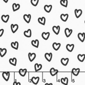 Penned Pals - Black and White Colorstory Hearts White Yardage