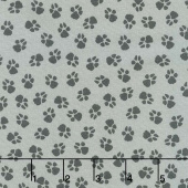 Dog On It - Paw Prints Medium Grey Yardage