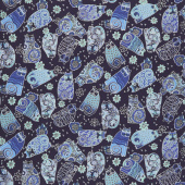 Feline Frolic - Tossed Cats Navy Blue Metallic Yardage