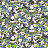 Panda Sanctuary - Panda Scenic Royal Digitally Printed Yardage