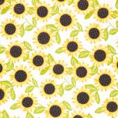 Sunny Bee - Sunflowers White Yardage