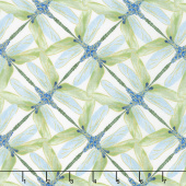 Dragonfly Dance - Blue Pinwheel Geometric White Green Metallic Yardage