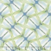Dragonfly Dance - Blue Pinwheel Geometric White Green Metallic Yardage