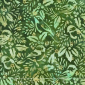 Artisan Batiks - Northwoods 6 Holly Berry Chickadees Forest Metallic Yardage