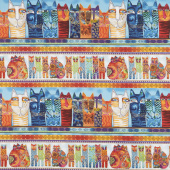 Feline Frolic - Pictorial Stripe Multi Color Metallic Yardage