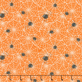 A Haunting We Will Glow - Spider Web Orange Glow in the Dark Yardage