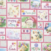 Kitty Glitter - Patchwork Pink Digitally Printed Yardage