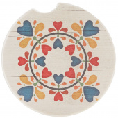 Quilt Car Coaster - Folk Heart