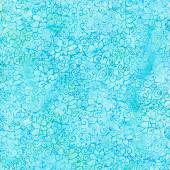 Floralicious Batiks - Swirl Outline Floral Turquoise Yardage