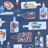 A Whale of a Time - Ships in Bottles Navy Yardage